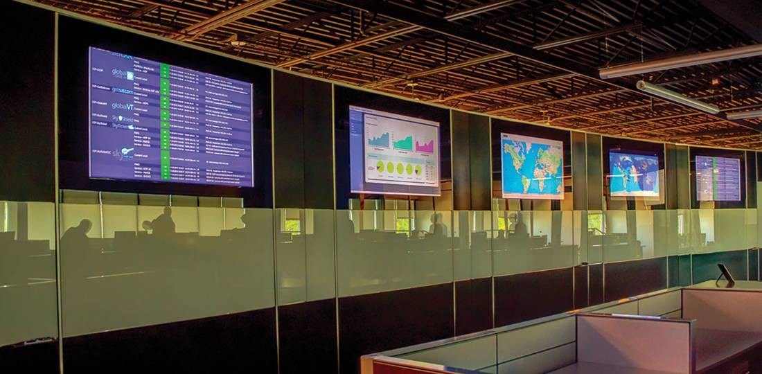 The Satcom Direct Network Operations Center in Florida keeps watch on customer networks.