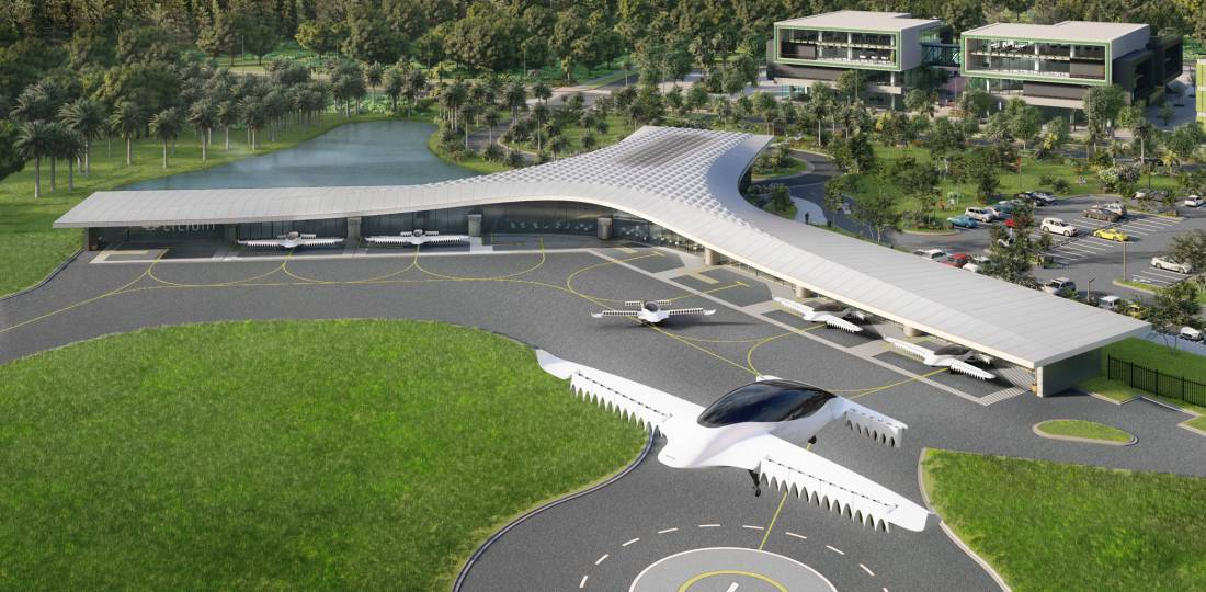 Lilium is planning a network of eVTOL aircraft flights operating from new vertiports such as this design for the Orlando area's Lake Nona community. (Image: Lilium)