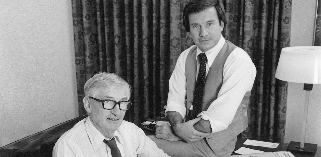 AIN co-founders Jim Holahan (left) and Wilson Leach (right) set high standards for their publishing company when they launched it at the NBAA show in Cincinnati 50 years ago.