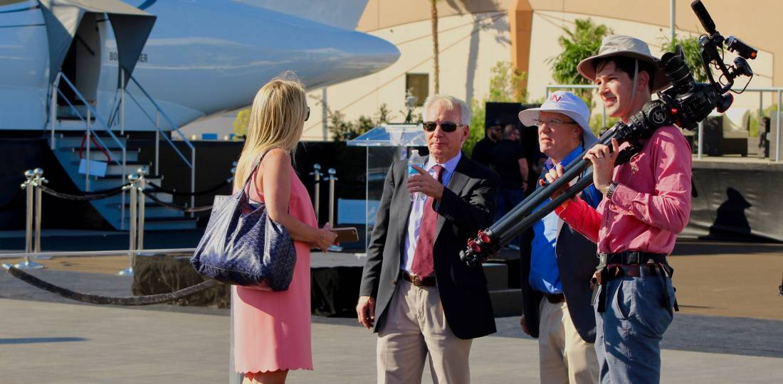 AIN CEO Wilson Leach with BJT editorial director Jennifer Leach English (left), editor-in-chief Matt Thurber (center right), and videographer Ian Whelan (right) at NBAA-BACE 2017.
