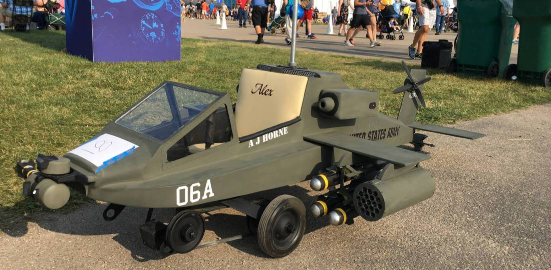 Apache helicopter. pedal car