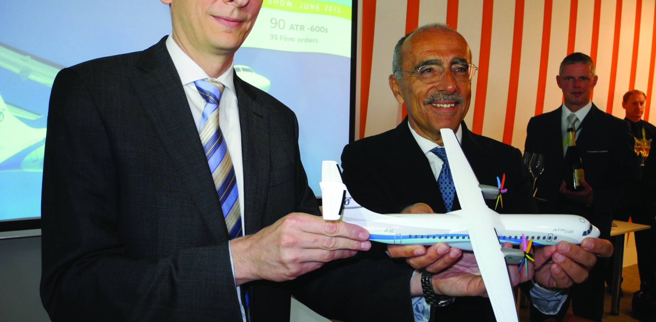 (left to right) Julian Jacome, Avianca COO, celebrates with Filippo Bagnato, CEO of ATR on delivery of Avianca's first of 15 ATR 72-600s.