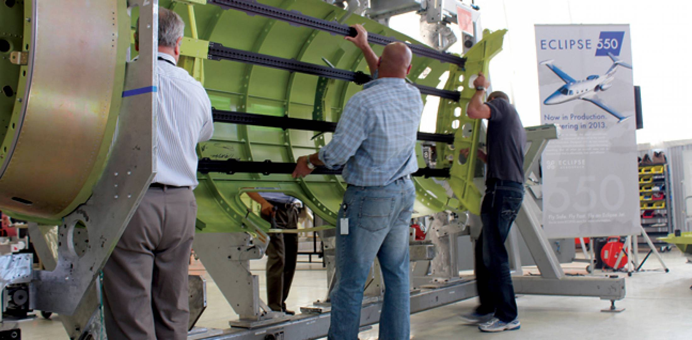 The Eclipse production team mated the forward keel assembly to the fuselage for the first Eclipse 550 during a dealer and sales conference at the company's Albuquerque, N.M. headquarters on May 31. The airplane will be delivered next year.