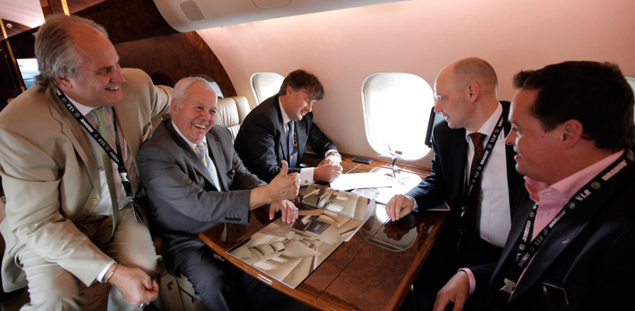 Pictured (l-r) are Rolf Smith, Viation sales director; Pat McHaffey, managing director of Viation UK; Greg Thomas, PrivatAir CEO; Christian Hatje, PrivatAir v-p business aviation; and Nick McHaffey, director of Viation UAE.