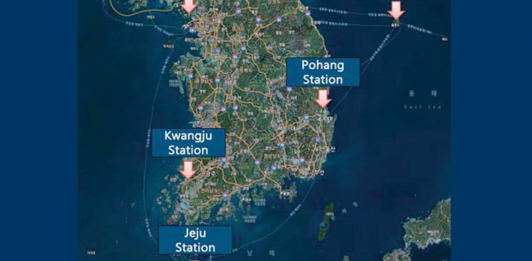 South Korea plans to provide radio navigation coverage with five stations–two legacy loran-C stations (in Pohang and Kwangju) and three yet-to-be built eLoran stations.