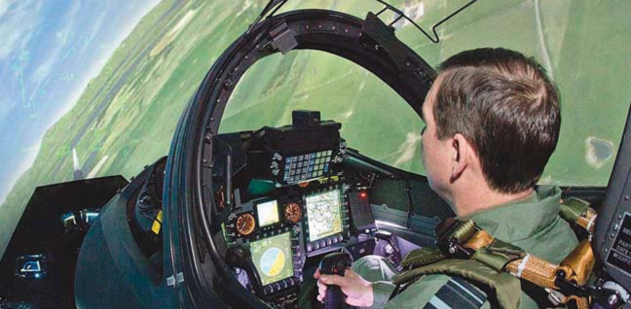 """The view inside one of the two CAE full mission simulators. These are not designed to provide full-motion, but the pilot seat does """"nudge"""" and """"roll"""" and therefore can be """"quite sick-making,"""" according to Ascent."""