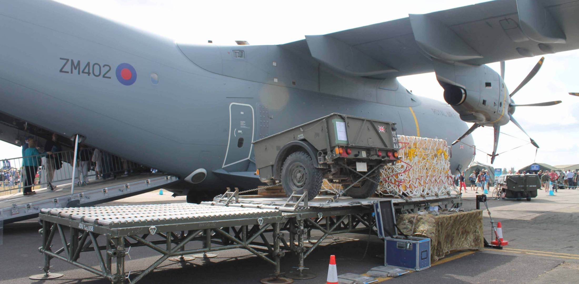 Third A400M delivered to UK RAF is on display.