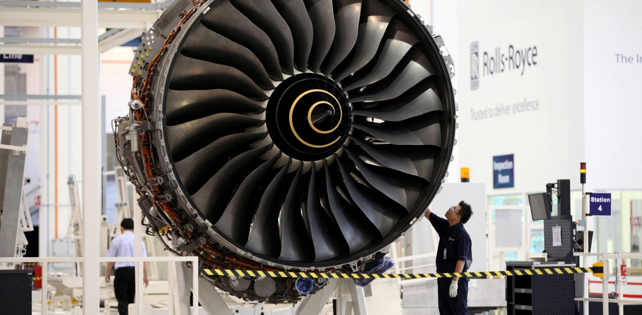 A Trent 900 aero engine nears completion on Rolls-Royce's production line at the Seletar Assembly & Test Unit, Singapore.