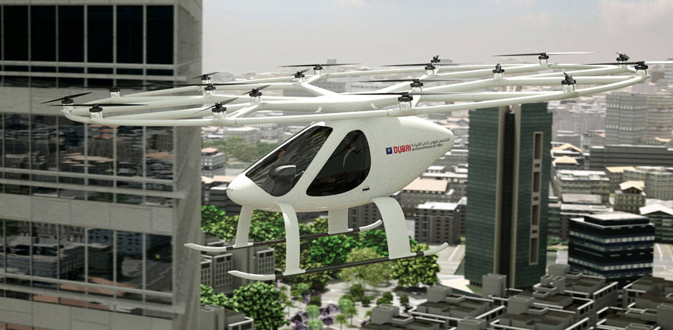 Autonomous electric helicopter tested in Dubai.