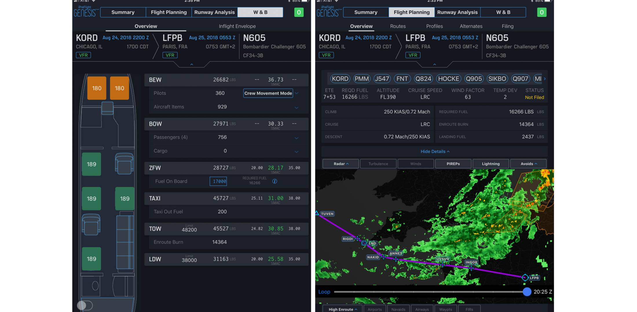 Left, a screen shot showing the Genesis weight and balance floorplan with crew, passenger, and baggage inputs as well as CG calculations. Right, a screen shot of the flight-planning module, which shows the route, graphical depiction with weather overlay, and user-selected constraints..