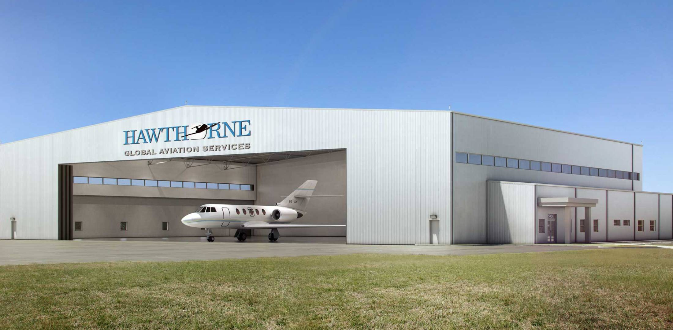 Artist rendering of planned Hawthorne Global Hangar at ISP