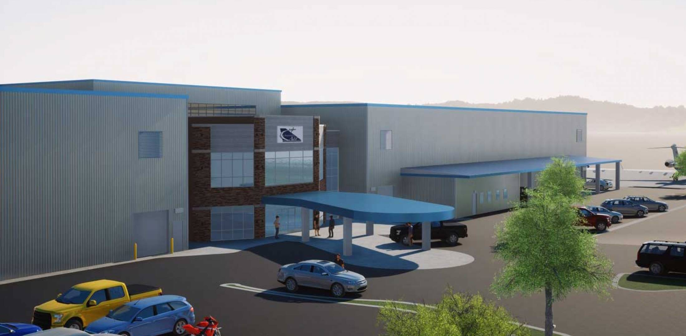 Artist rendering of planned Chantilly Air FBO at HEF