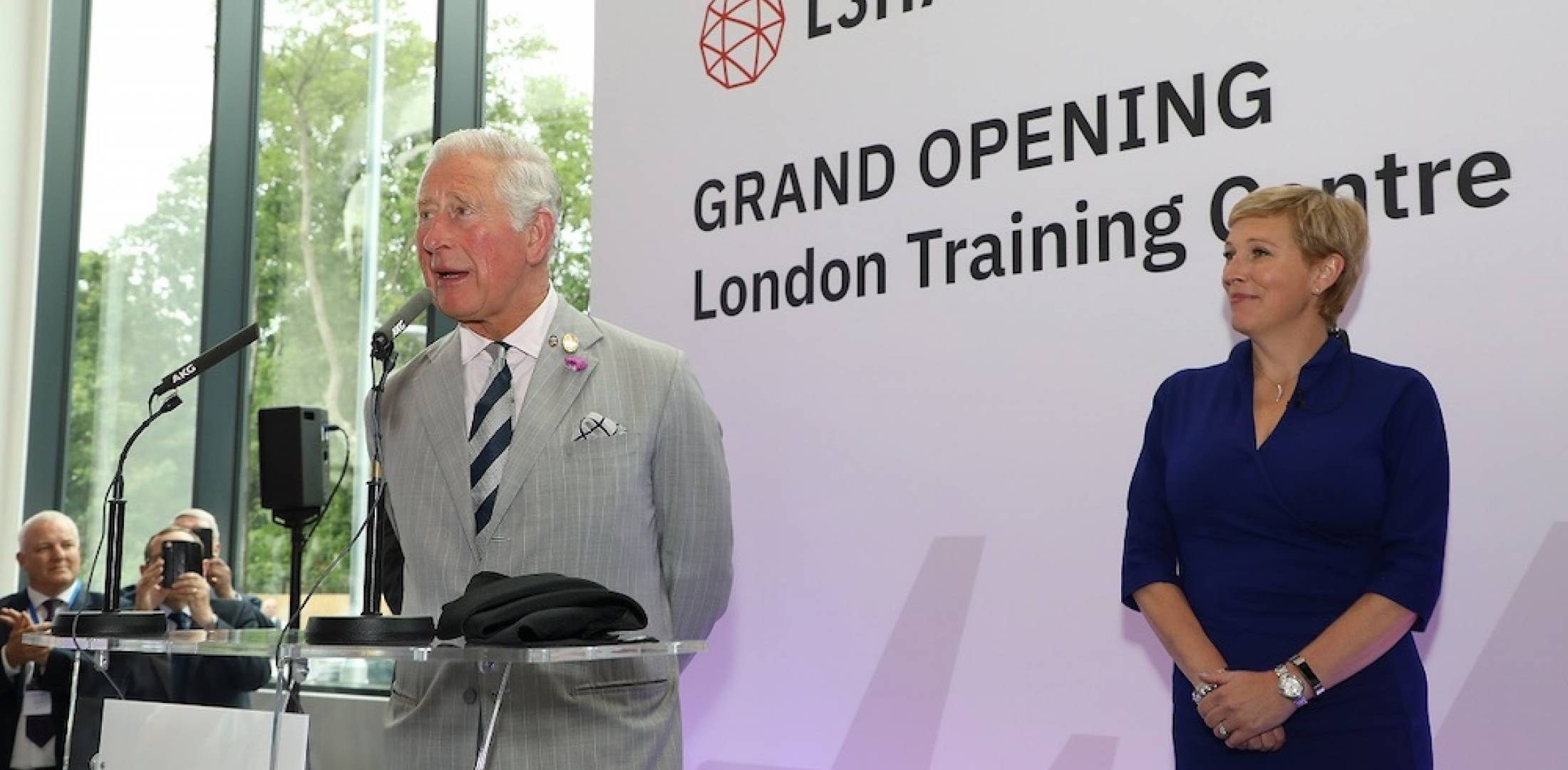 Prince Charles and Baroness Vere at L3Harris.