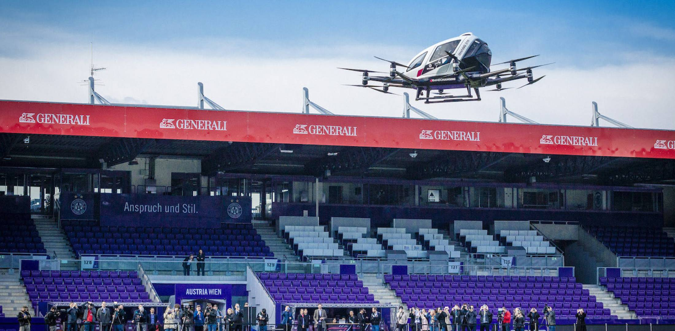 EHang 218 Autonomous Aerial Vehicle flying in Vienna.