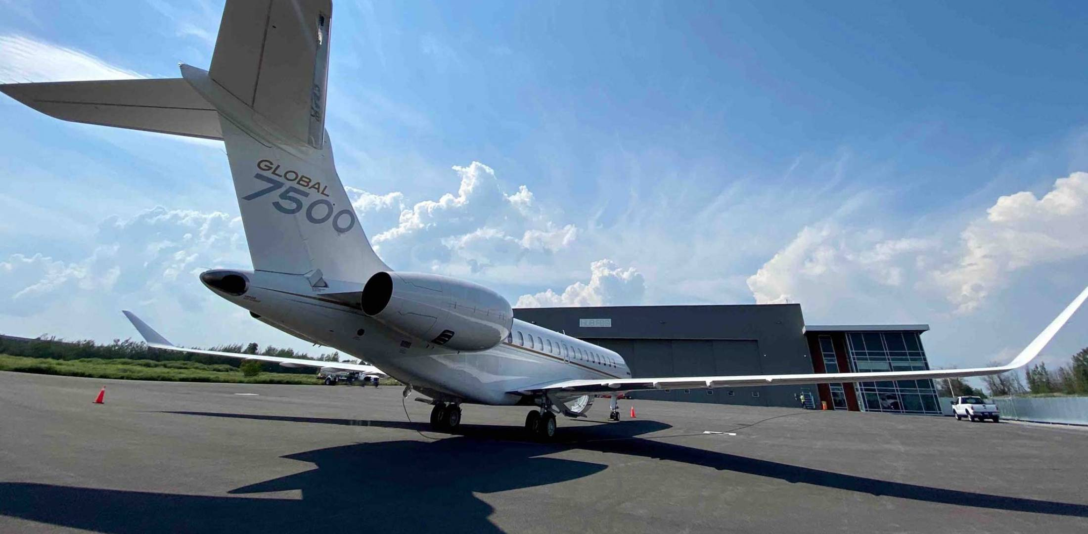 Business jet on ramp at new HUB FBO in Montreal.