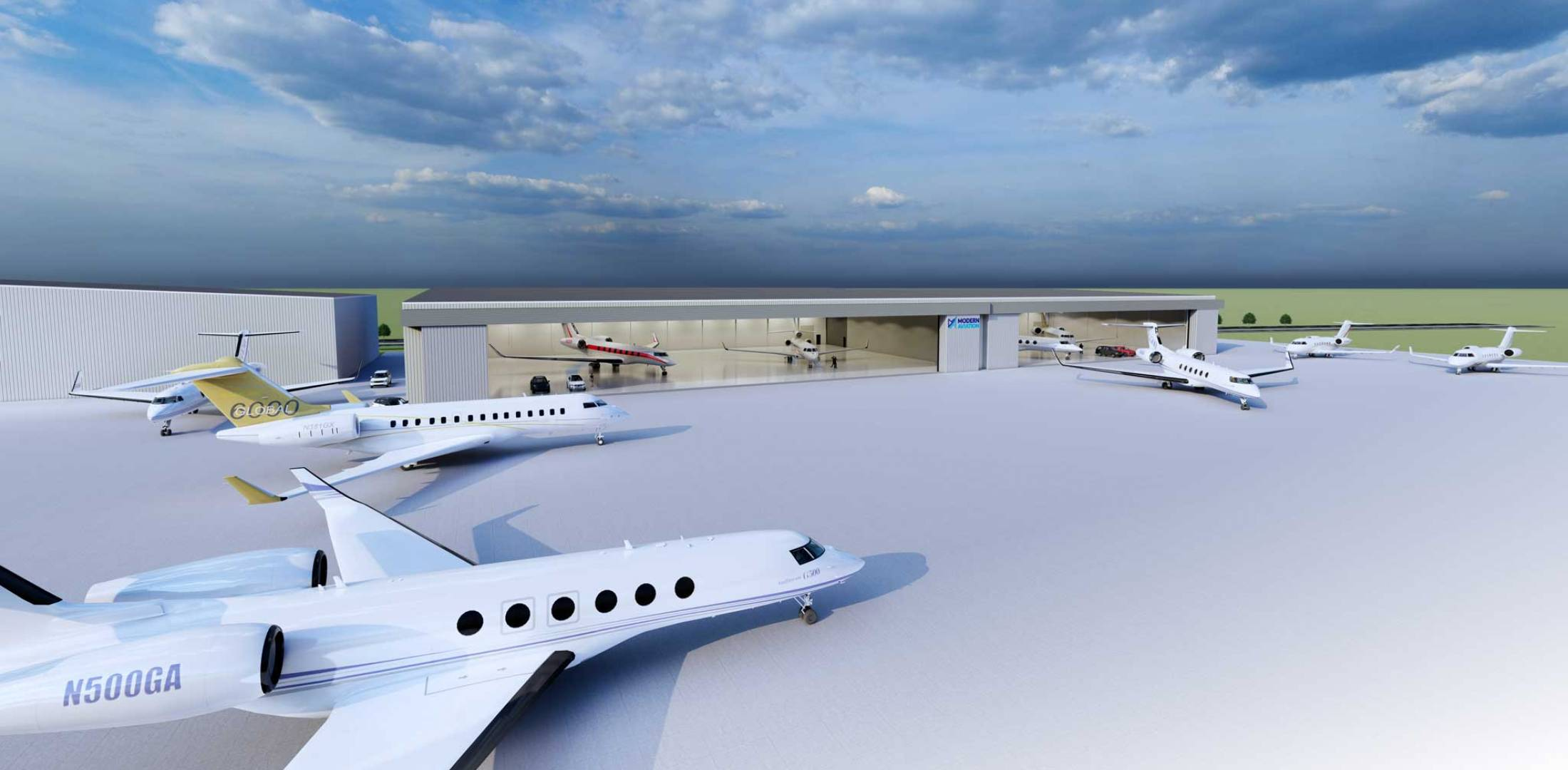 Artist rendering of planned hangar expansion at Modern Aviation Seattle
