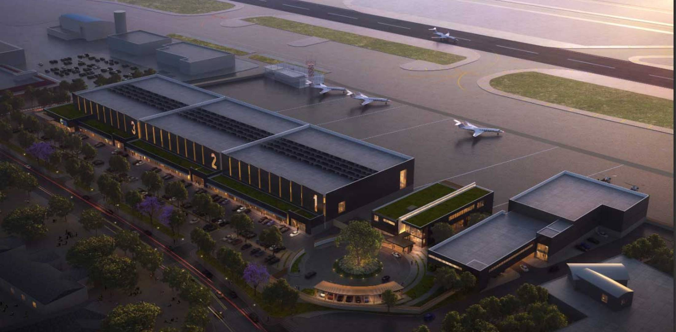 Artist rendering of planned Clay Lacy FBO at SNA