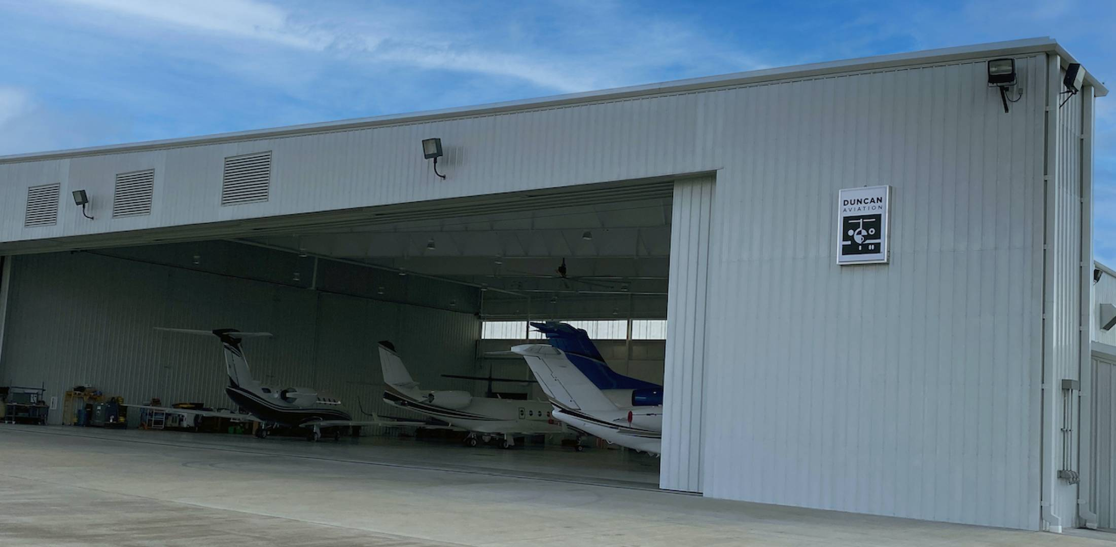 Hangar at HOU that now houses Duncan's satellite repair station