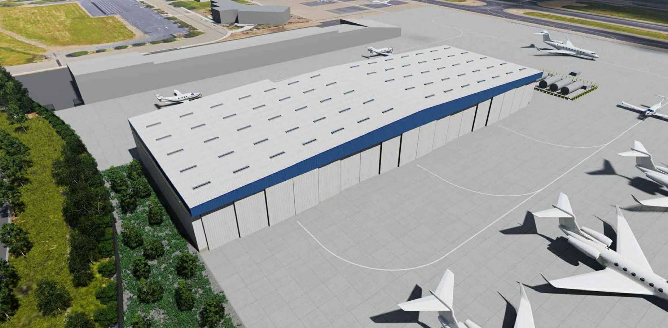Artist rendering of the under-construction hangar at LVK