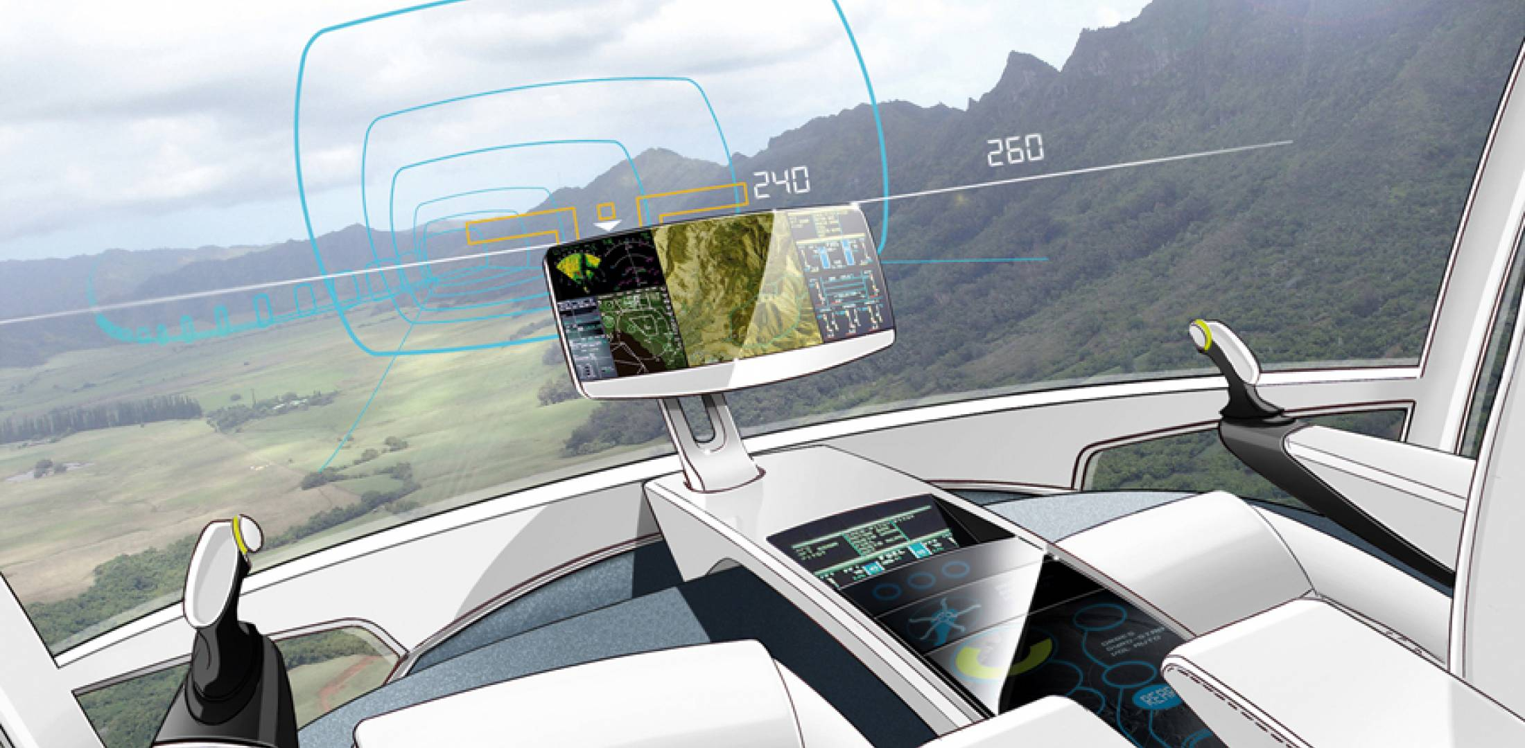 The main cockpit display in Eurocopter's X-4 will be projected on the windshield