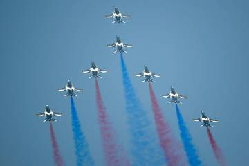 The Republic of Korea Air Force Black Eagles show their colors to the sun during family day for service members of the Republic of Singapore Air Force. Photo: Mark Wagner