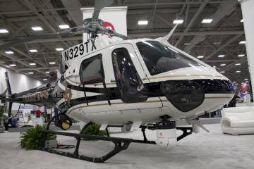 Texas Department of Public Safety flew in their Eurocopter AS 350 to be displayed in the L3 Communications booth. (Photo Andrew Zaback)