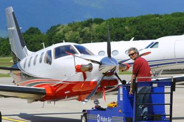 Positioning the Daher TBM 900 turboprop on the EBACE static display
