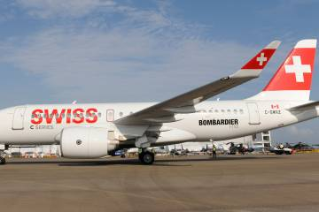 The Bombardier C Series CS100 is due to enter service with launch customer Swiss by June and is on static display at Singapore Airshow 2016.