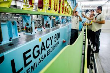 Embraer has doubled the size of its U.S. factory in Florida to accommodate assembly of Legacy 450s and 500s.
