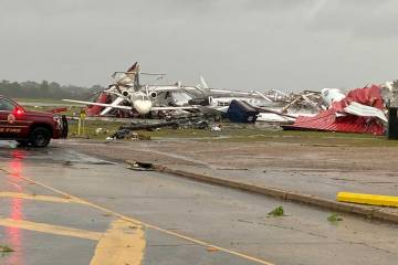 Collapsed hangar at Monroe Regional Airport