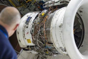 Rolls-Royce Trent engine on test stand
