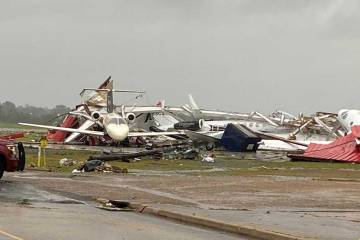 Tornado damage in Monroe, Louisiana, caused extensive damage to aircraft, part of the reason insurance rates have climbed.