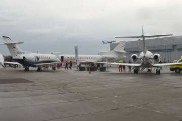 This year's Russian Business Aviation Exhibition hosted a dozen aircraft, including a Falcon 8X and two Hawkers, with the largest a B757.