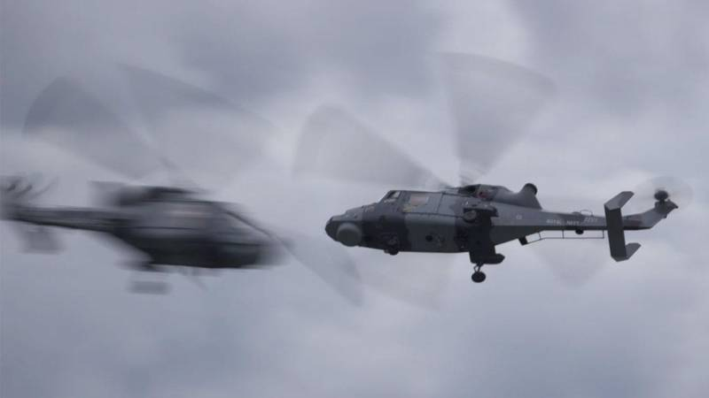 Royal Navy Black Cats AW159 Helicopter Display Team Flies Over Farnborough