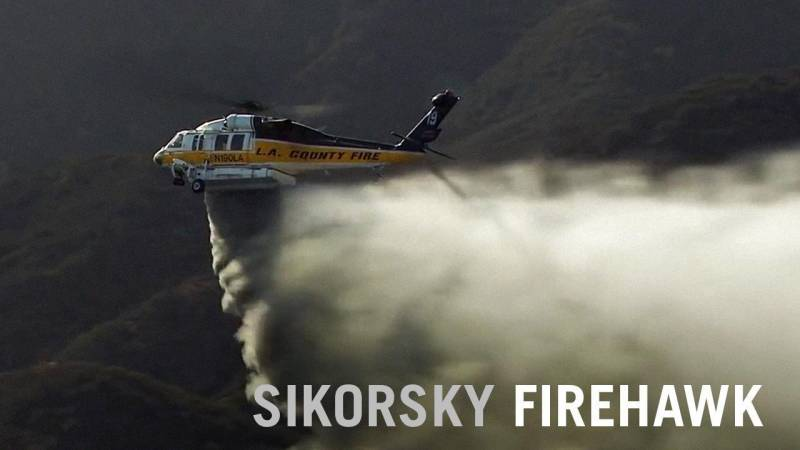 Sikorsky Firehawk Helicopter Fights Flames in Los Angeles County, California
