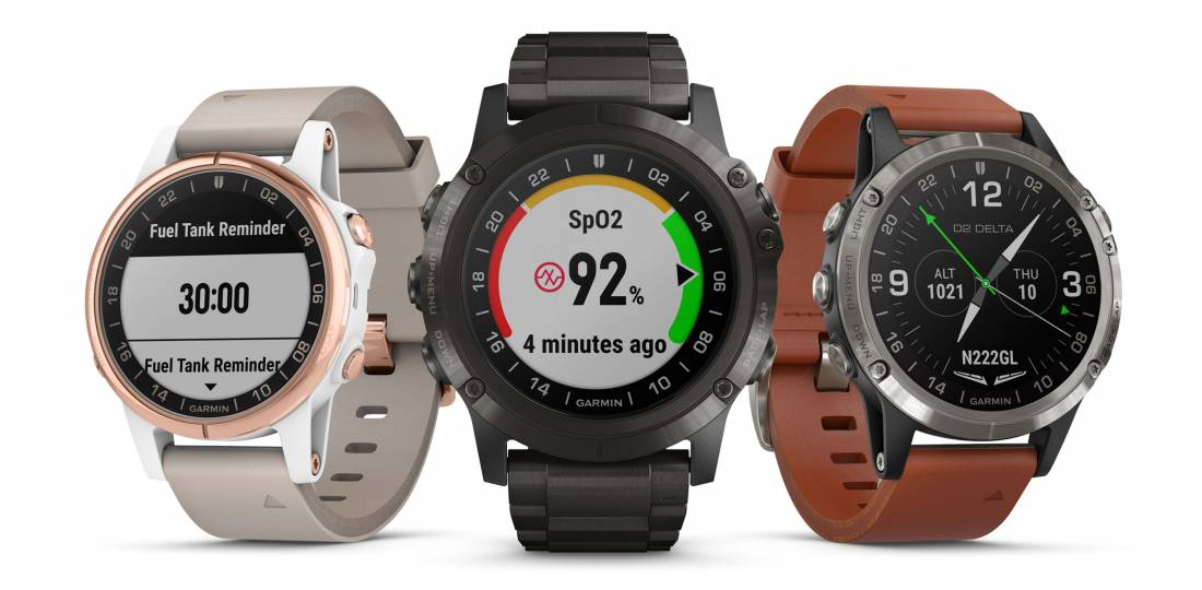 The Delta PX (center) shows the wearer's oxygen saturation level.
