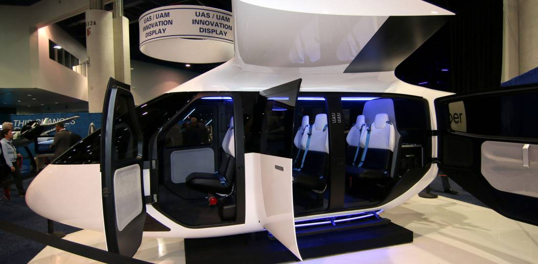 Uber Air's Mission Driven Cabin concept appeared at last month's NBAA-BACE show in Las Vegas. Photo: Mariano Roselas