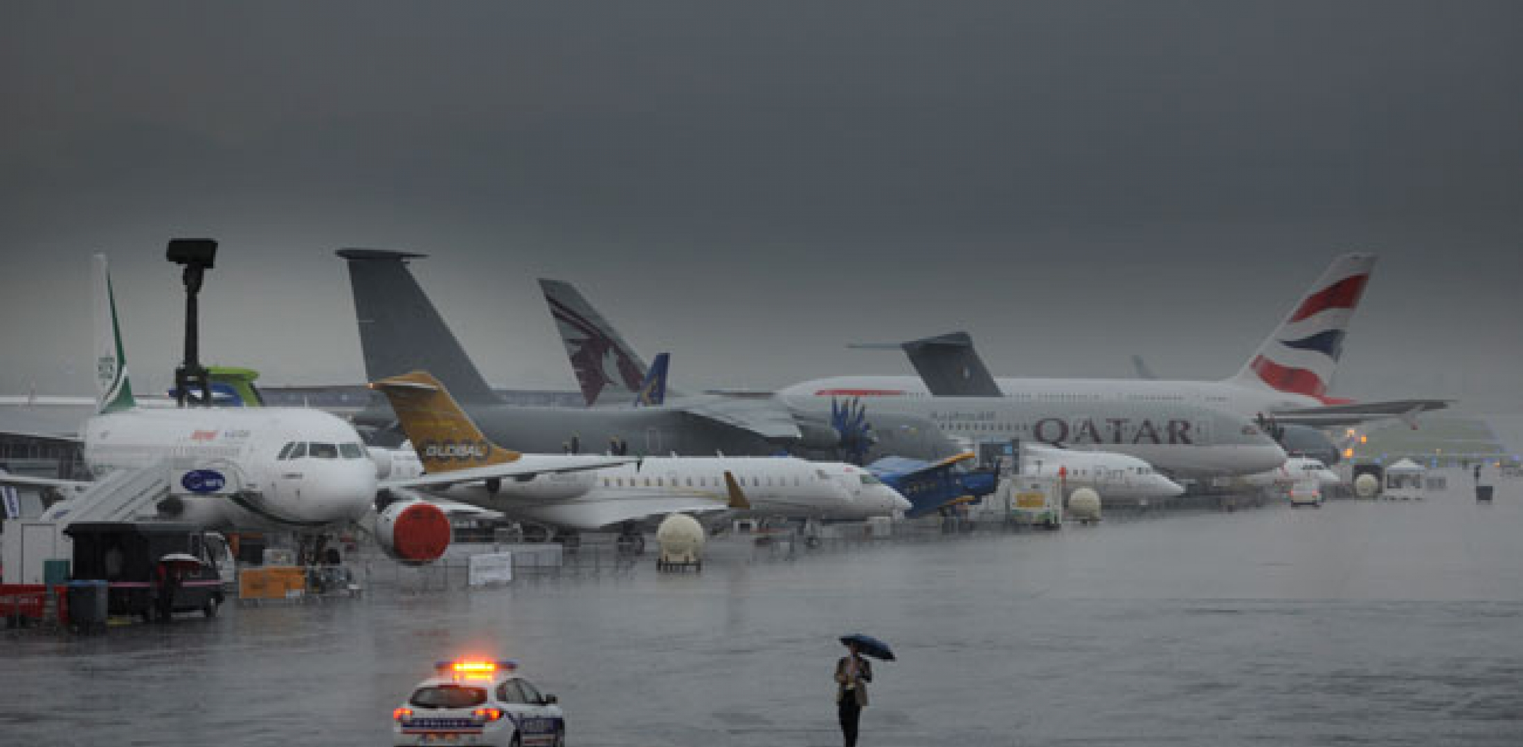 The main flight line was well drenched during the downpour.