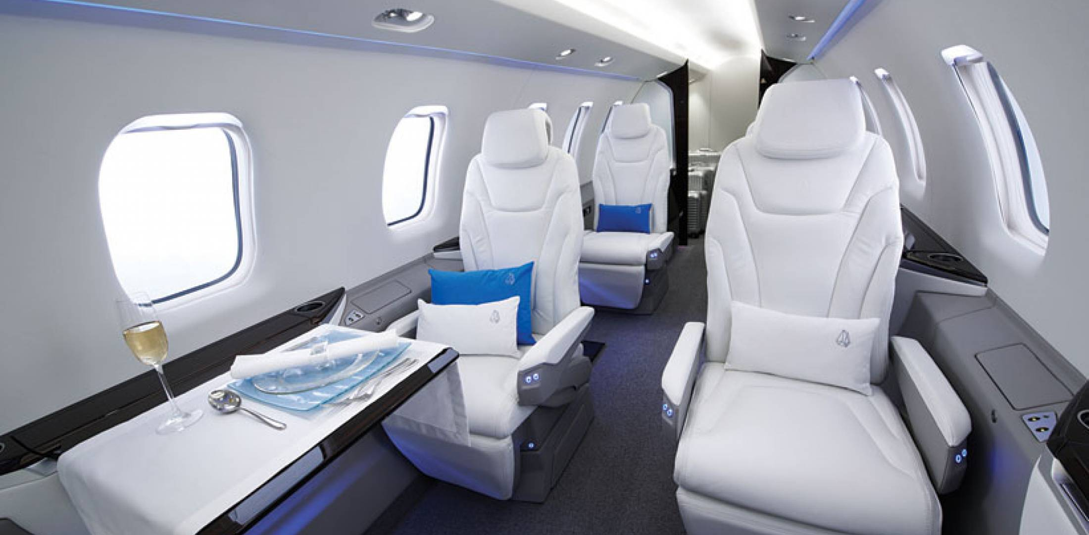 The PC-24's 501-cu-ft cabin, larger than that of the