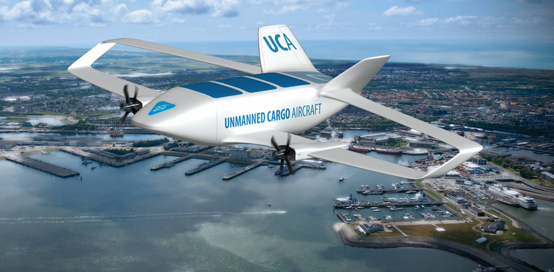 One artist's concept depicts a future cargo UAV, which is projected as one use for unmanned aircraft in commercial air transportation.
