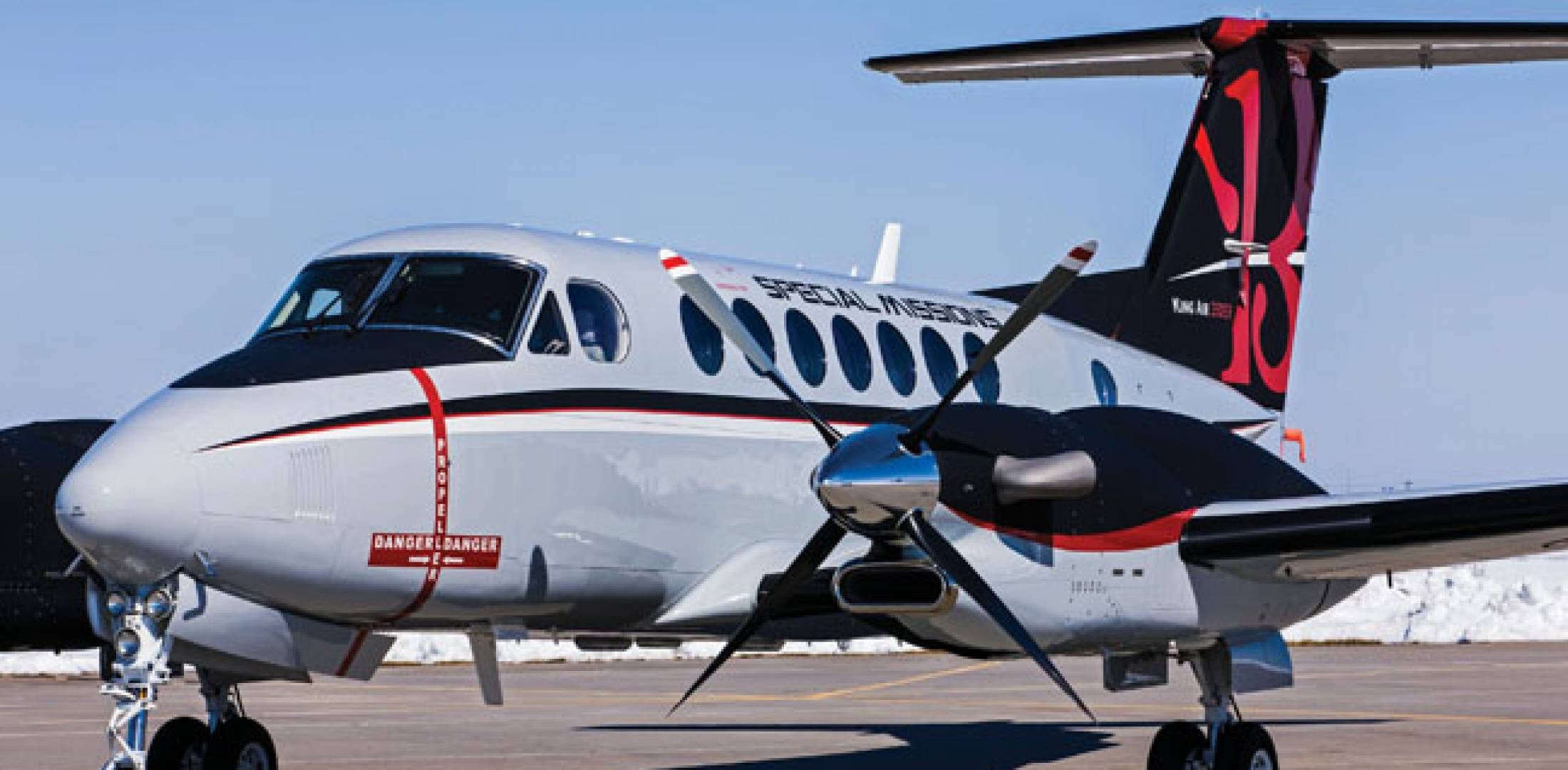 The core mission of the Beechcraft King Air 350ER is long range and lengthy loitering times, up to 2,650 nm or 12 hours.