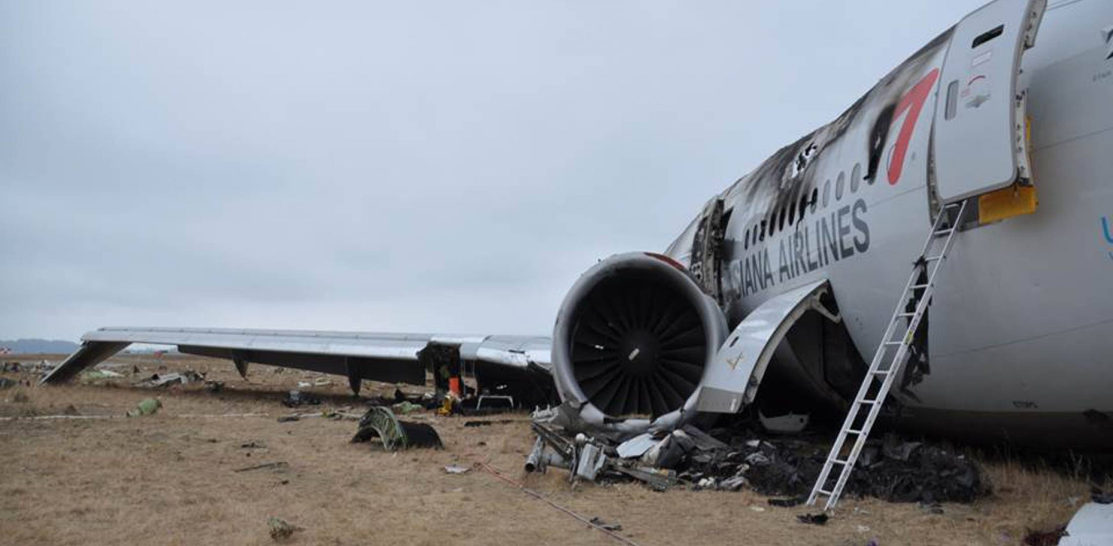 The wreckage of Asiana Airlines Flight 214, a Boeing 777, lies at San  Francisco International Airport following the July 6 crash. (Photo: NTSB)