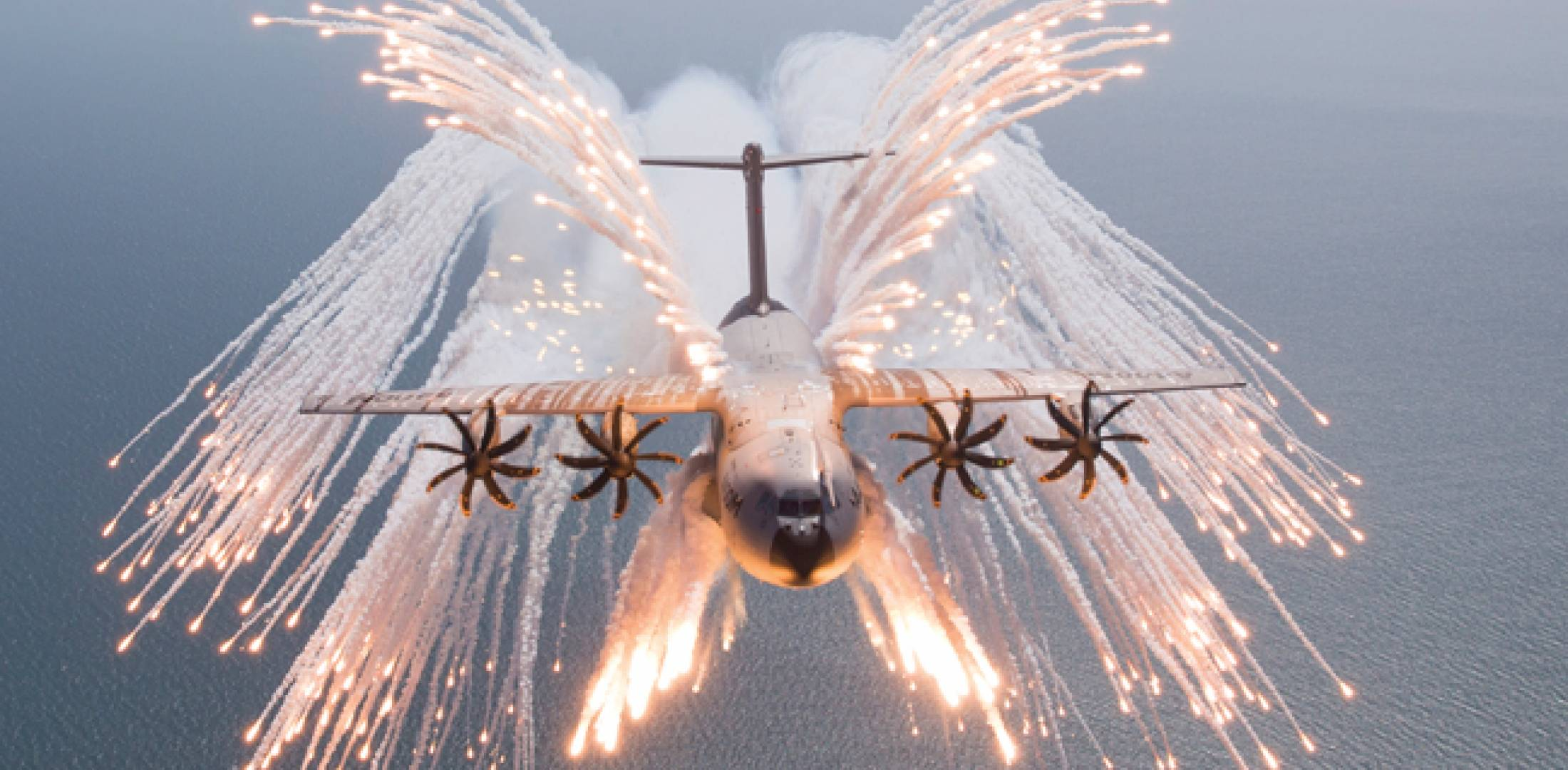 Flare dispenser trials culminated in this spectacular full flare jettison test of the Airbus A400M.