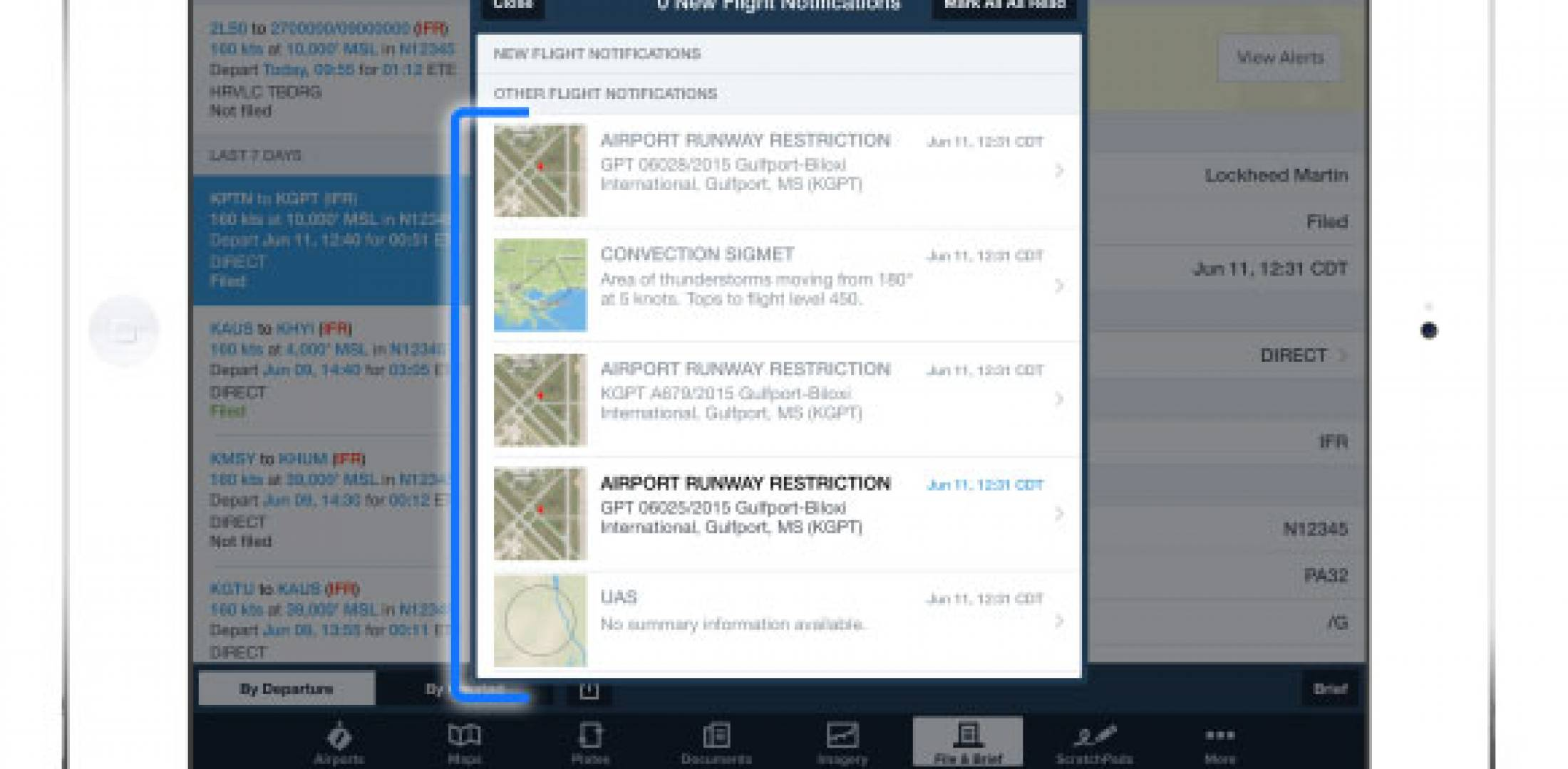 graphical flight notifications