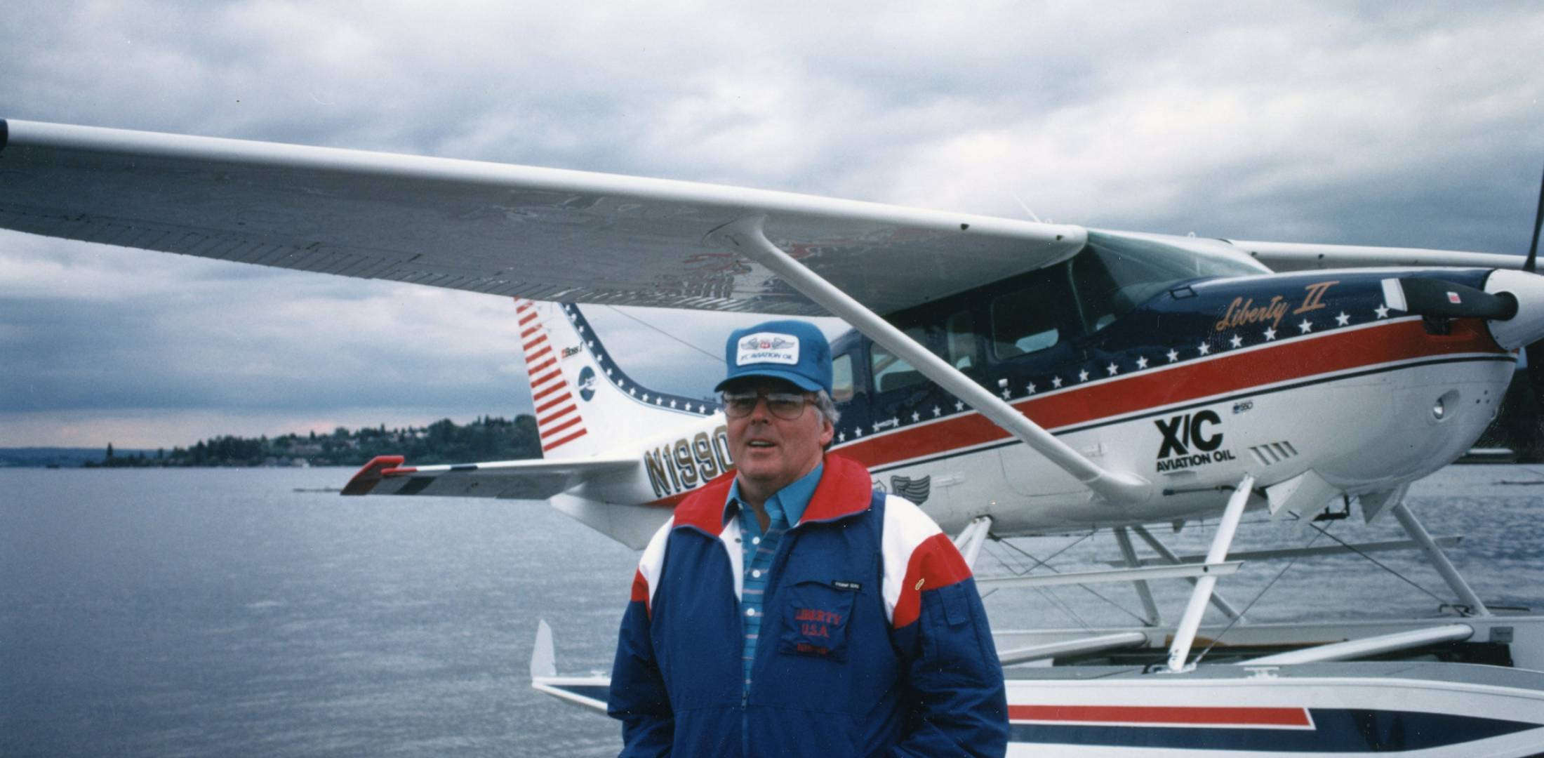 Tom Casey with floatplane