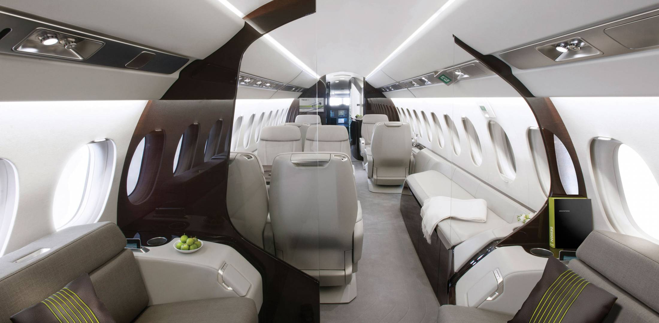 Dassault design philosophy evident in 5x 8x business for Large cabin business jets