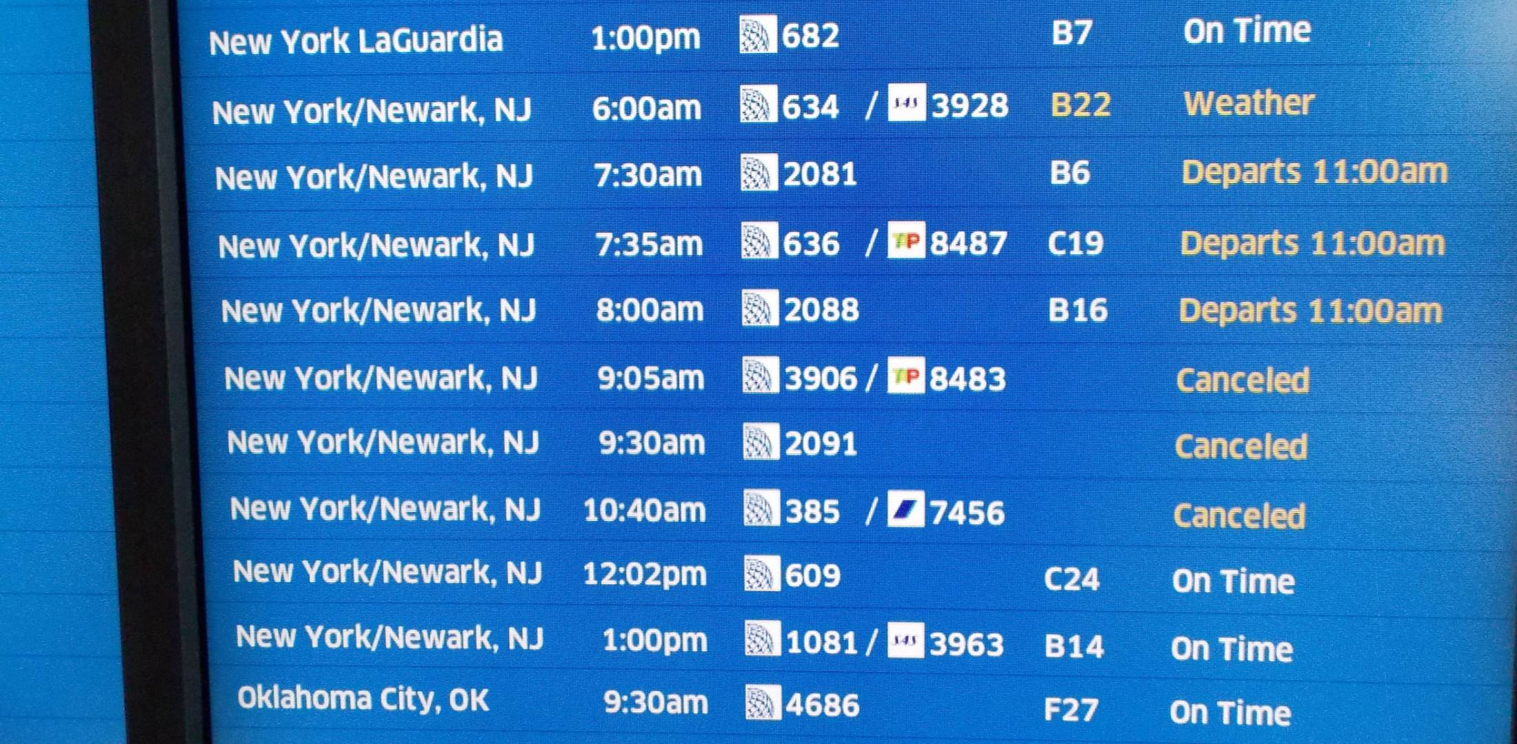 Departure Board At O'Hare International