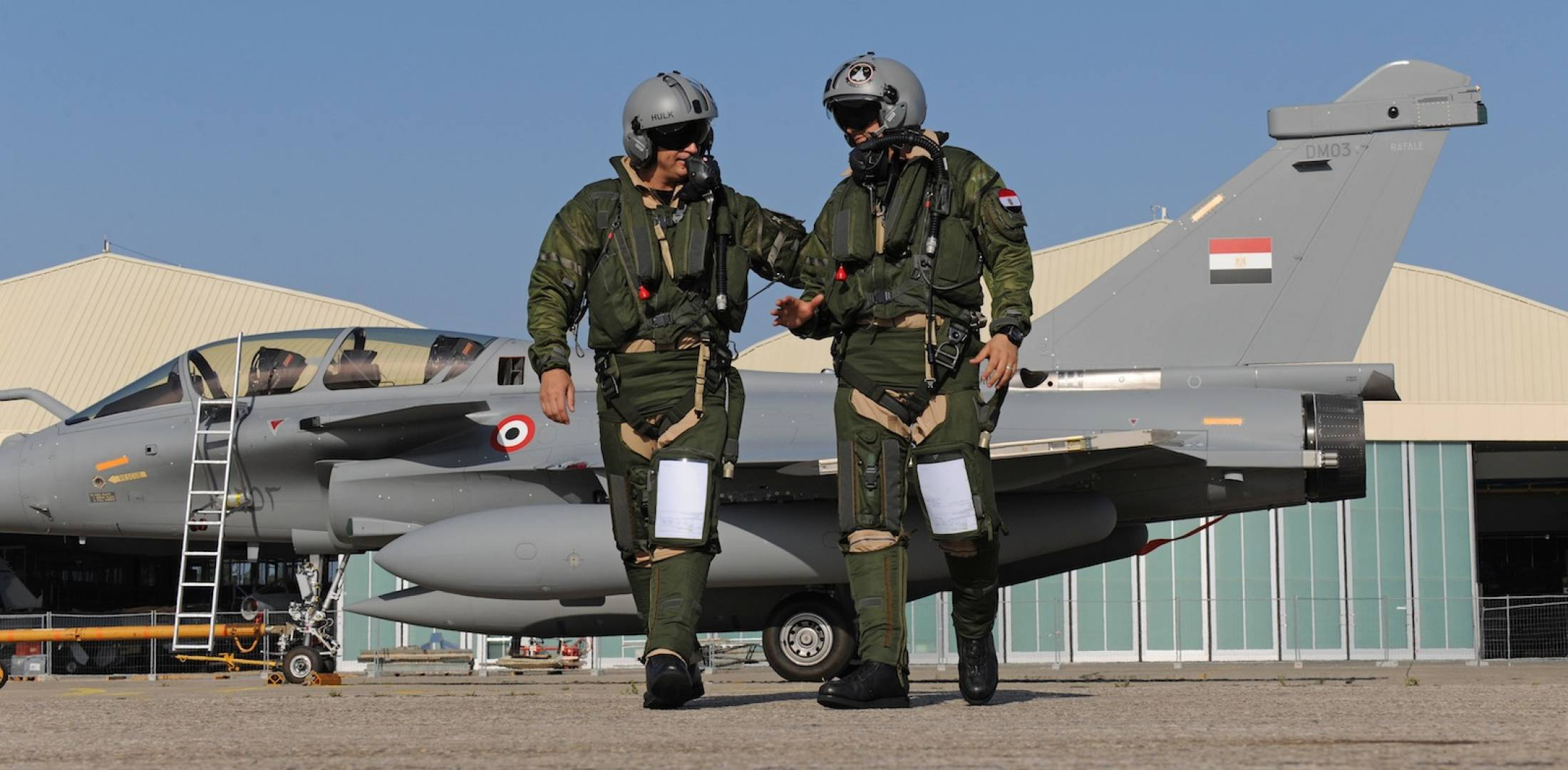 Egyptian pilots with Dassault Rafale fighter