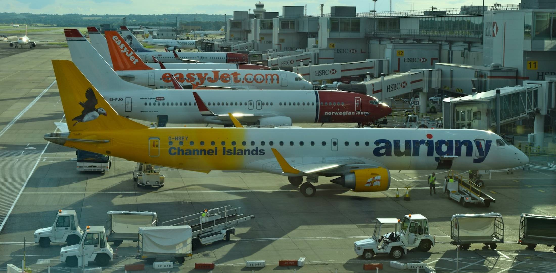 Airliners at their gates at London's Gatwick Airport