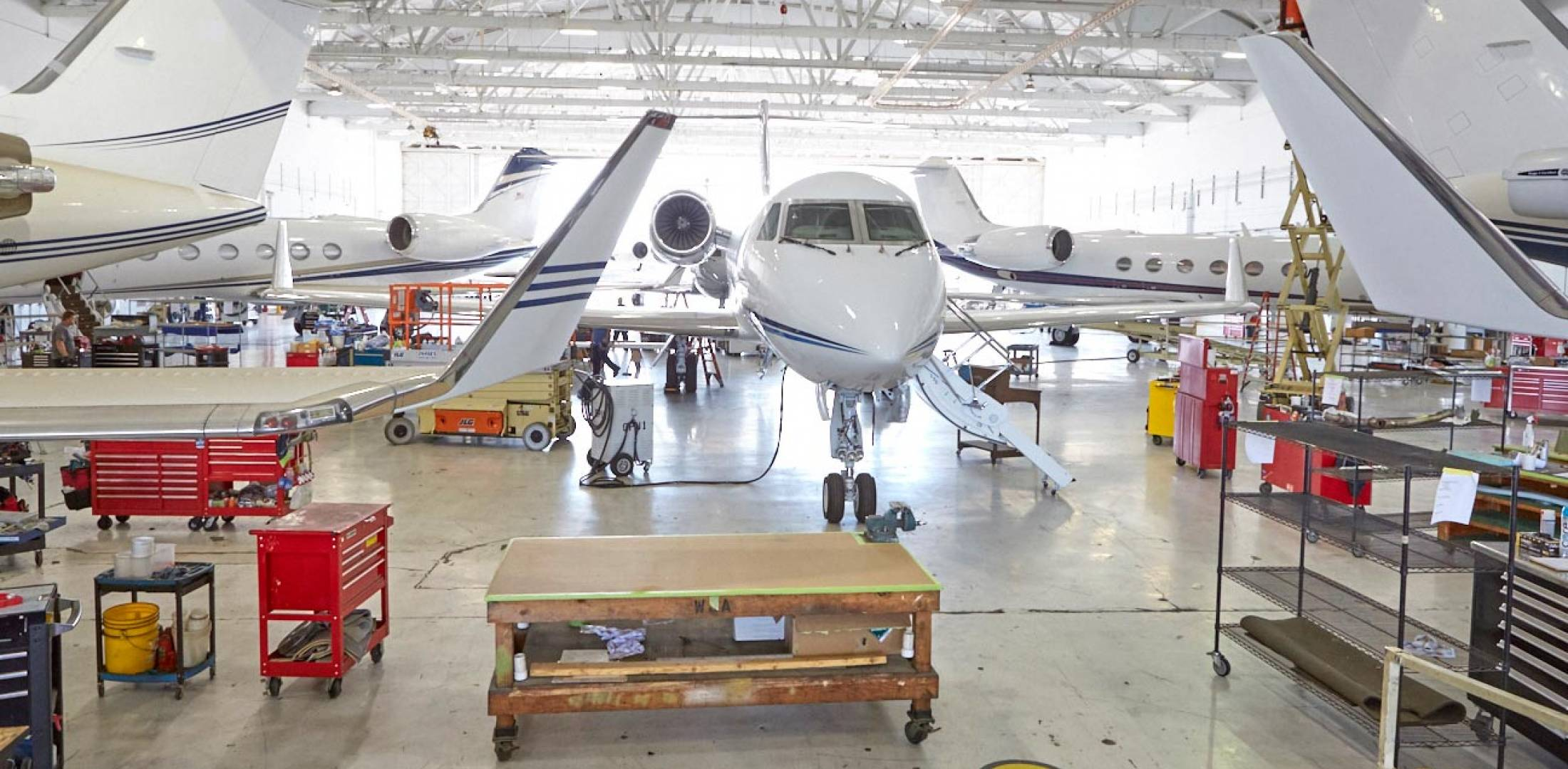 Tried and true, the vintage Western Jet hangar has been upgraded to current earthquake standards and airport codes. It's continually chock full of Gulfstreams, and together with tenant companies such as interior specialist JetSet, Western Jet is eying a busy market.